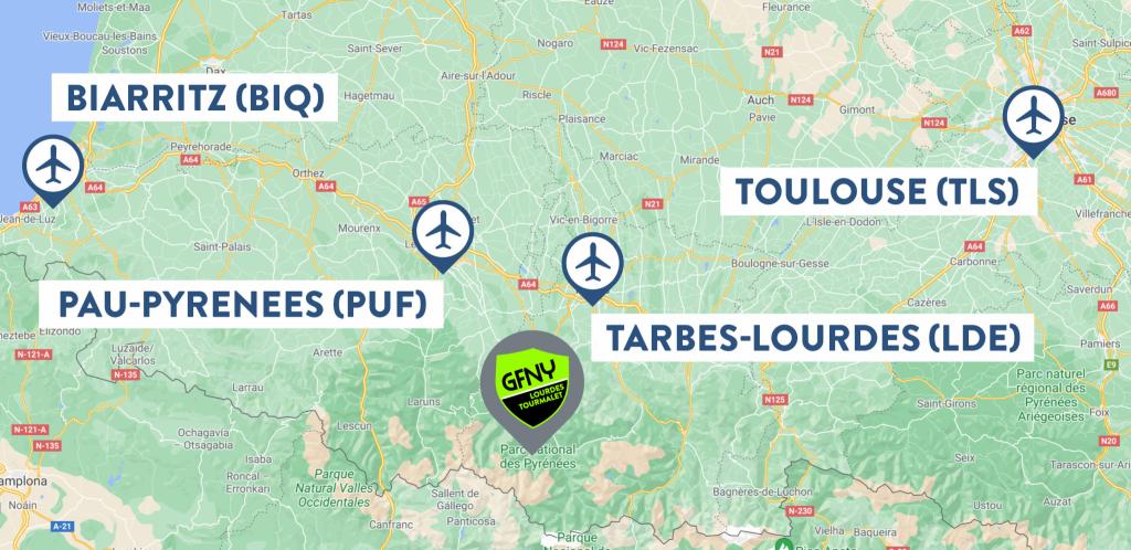 Airport Map GFNY Lourdes Tourmalet
